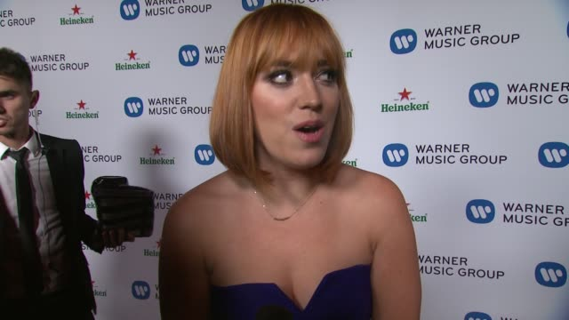 INTERVIEW Andrea Bowen on being at the event and on being a fan of Daft Punk at Warner Music Group 2014 Grammy Celebration at Sunset Tower Hotel on...