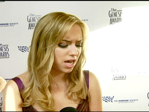 Andrea Bowen on the event and animal care at the 2008 Genesis Awards at the Beverly Hilton in Beverly Hills California on March 30 2008