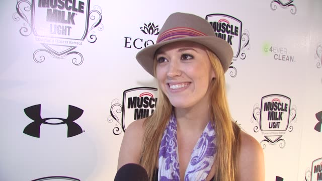 Andrea Bowen on what brings her out to the retreat what she hopes to get out of the retreat what makes her a fan of Muscle Milk and what she has...