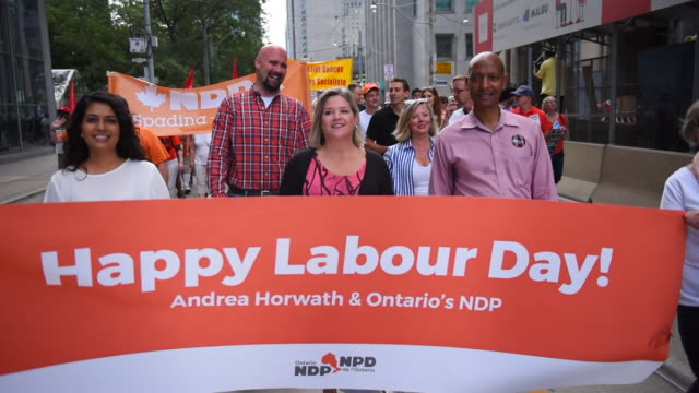Andrea Horwath marches representing her political party The New Democratic Party She is the leader and the leader of the current official opposition...