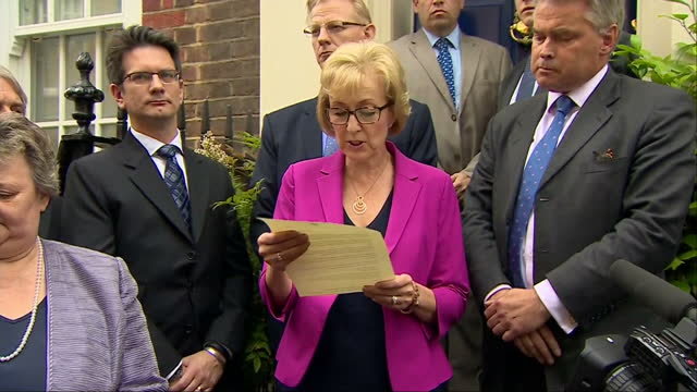 vídeos y material grabado en eventos de stock de andrea leadsom has pulled out of the race to be the leader of the conservative party and britain's next prime minister she insisted britain needed... - partido conservador británico