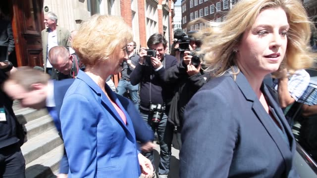 andrea leadsom, uk energy minister, departs after delivering a speech setting out her bid for the leadership of the uk ruling conservative party, in... - conservative party uk stock videos & royalty-free footage