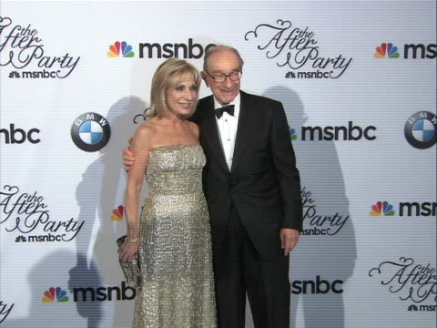 andrea mitchell and husband, alan greenspan, posing on the red carpet at the white house correspondent's dinner. - msnbc stock videos & royalty-free footage