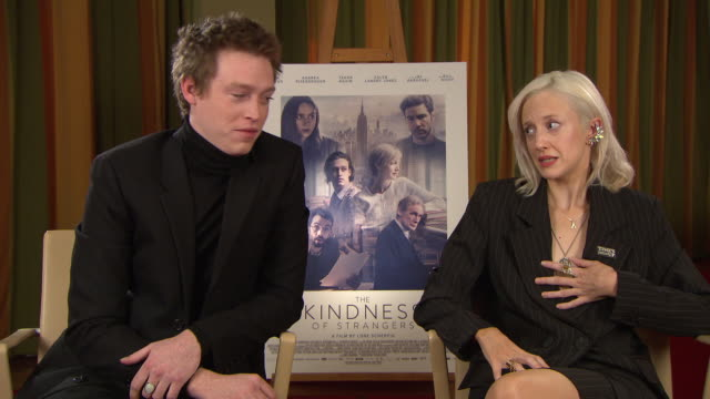 interviewandrea riseborough and caleb landry jones  andrea riseborough on how she believes patriarchy has made society less kind at 'the kindness... - patriarchy stock videos & royalty-free footage
