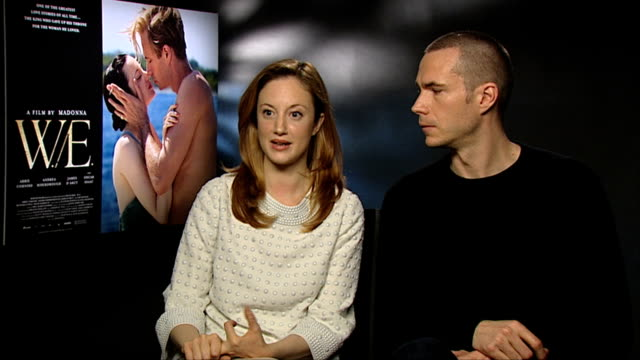 andrea riseborough and james d'arcy on the rumours in the news at the time of the abdication at the we interview london on january 10th 2012 - abdication stock videos and b-roll footage