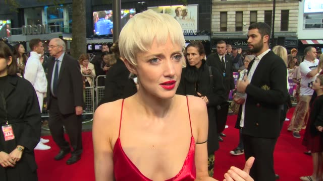 Andrea Riseborough on playing alongside Emma Stone and Mary Tyler Moore at Odeon Leicester Square on October 07 2017 in London England