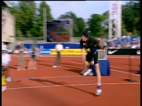 Andreas Thorkildsen wearing woolly hat launches winning throw of 8445m Men's Javelin 2004 Crystal Palace Athletics Grand Prix London
