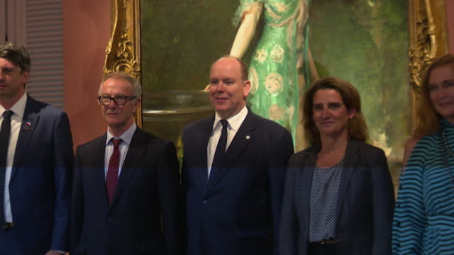 andres couve, spanish minister of culture and sport jose guirao, prince albert ii of monaco, spanish minister for the ecological transition teresa... - monaco stock videos & royalty-free footage