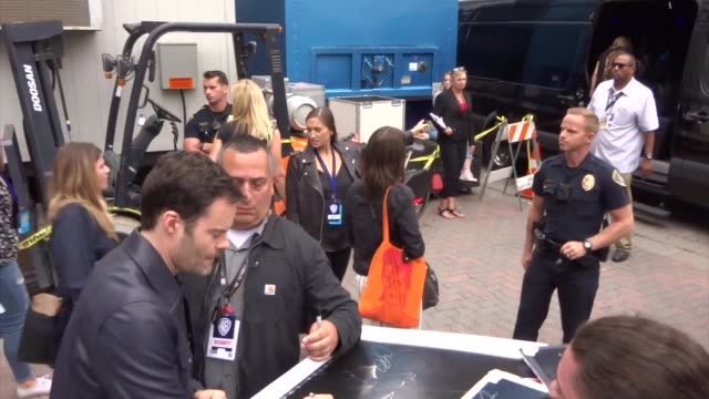 andres muschietti and bill hader sign autographs for fans outside a taping of conan o'brien at comiccon 2019 in san diego on july 17 2019 at... - conan o'brien stock videos and b-roll footage