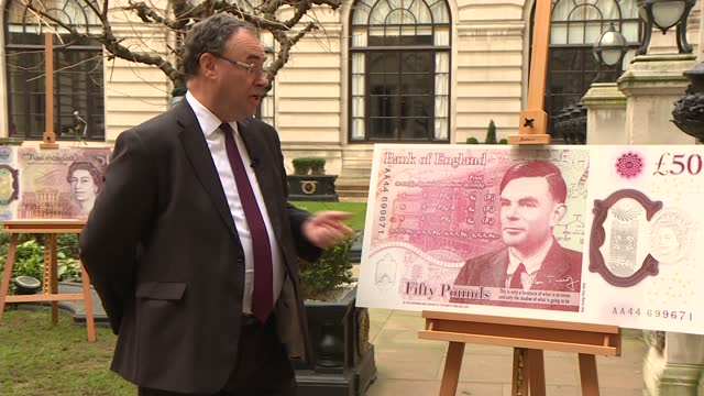 stockvideo's en b-roll-footage met andrew bailey interview about alan turing banknote; england: london: ext andrew bailey interview sot q: on banknote design - i'm enormously impressed... - alan turing
