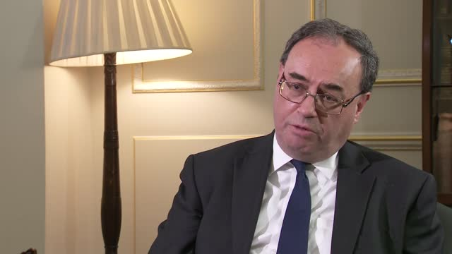 andrew bailey interview; england: london: bank of england: int andrew bailey interview with itv news reporter joel hills sot. one of largest falls in... - itv news at one stock videos & royalty-free footage