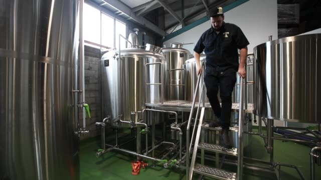 andrew childs of behemoth brewing company checks on the process of the new brewery on september 11, 2020 in auckland, new zealand. behemoth brewing... - new zealand culture stock videos & royalty-free footage