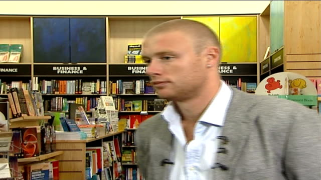 andrew flintoff interview and booksigning england london canary wharf int andrew flintoff interview sot coming on well over next two weeks will... - missed chance stock videos & royalty-free footage
