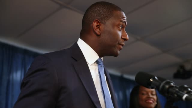 andrew gillum the democratic candidate for florida governor speaks during a campaign rally at the international union of painters and allied trades... - 長点の映像素材/bロール