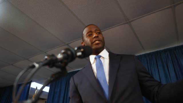andrew gillum the democratic candidate for florida governor speaks during a campaign rally at the international union of painters and allied trades... - florida us state stock videos and b-roll footage