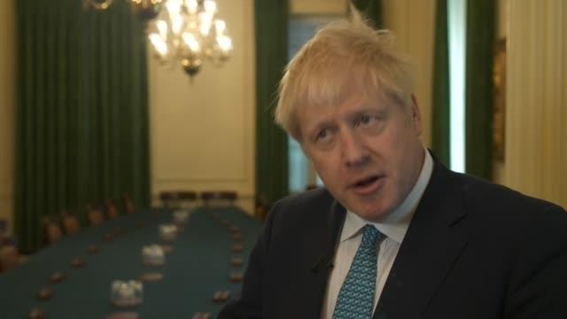 Boris Johnson interview ENGLAND London Westminster Downing Street INT Boris Johnson MP interview SOT