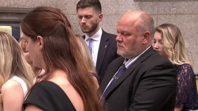 family statement outside court cutaways england london lissie harper along out of court and taking position behind spokesperson side view harper side... - crime and murder stock videos & royalty-free footage