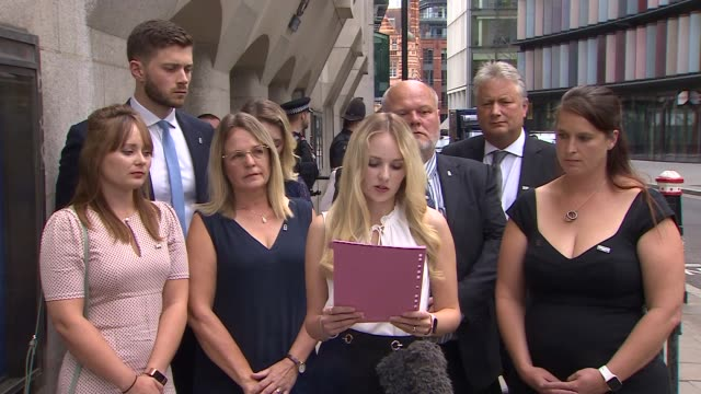 family statement outside court england london old bailey ext lissie harper statement sot - crime and murder stock videos & royalty-free footage