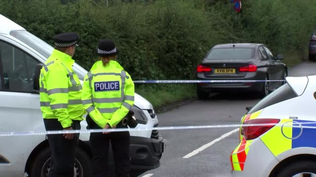 Ten people arrested ENGLAND Berkshire Sulhamstead EXT Various of police officers and vehicles at entrance to cordoned off road where PC Andrew Harper...