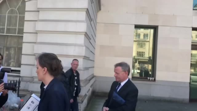 Andrew Hill the Shoreham air crash pilot leaves Westminster Magistrates' Court after pleading not guilty to 11 counts of manslaughter by gross...