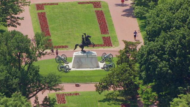 ws aerial pov andrew jackson statue in lafayette square with gardens / washington dc, united states  - male likeness stock videos & royalty-free footage