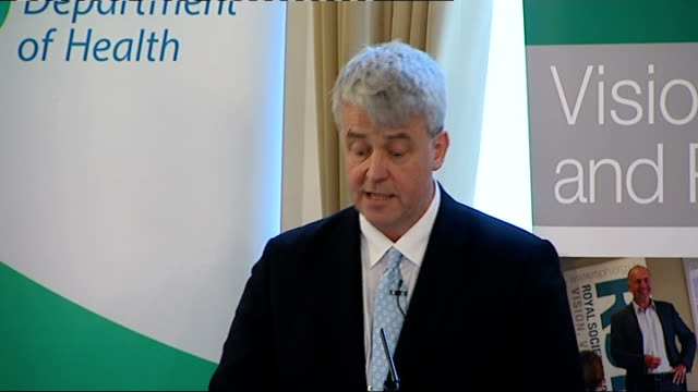 vidéos et rushes de andrew lansley speech; andrew lansley sot re govt policy - we work with businesses but we determine policy, taking action where necessary - we will... - invisible
