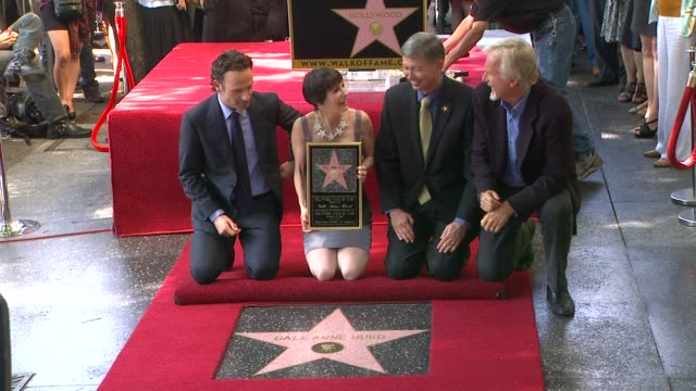 andrew lincoln, gale anne hurd, and james cameron at gale anne hurd honored with star on the hollywood walk of fame on 10/3/12 in hollywood, ca. - james cameron stock videos & royalty-free footage