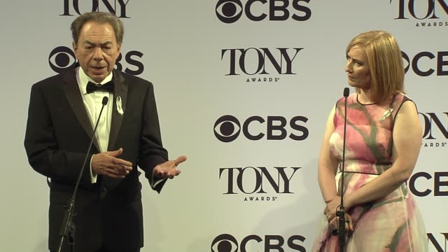 interview andrew lloyd webber and american theatre wing president heather a hitchens talk about arts education and school of rock at 2016 tony awards... - 70th annual tony awards stock videos and b-roll footage