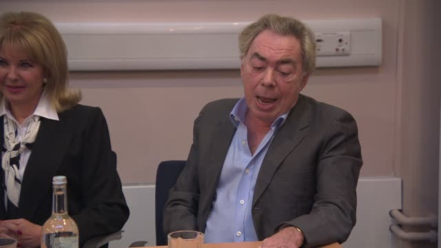 andrew lloyd webber on what attracted him to making a musical on stephen ward and meeting mandy rice davies at 'stephen ward was innocent' press... - mandy rice davies stock videos & royalty-free footage