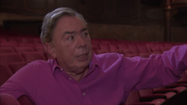 andrew lloyd webber trevor nunn gillian lynne and john napier invite you to the launch of cats let the memory live again show interior interview with... - andrew lloyd webber stock videos and b-roll footage
