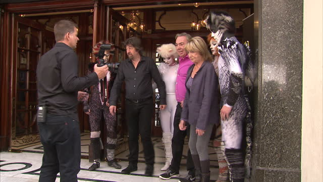 andrew lloyd webber trevor nunn gillian lynne and john napier invite you to the launch of cats let the memory live again shows exterior shots of cast... - andrew lloyd webber stock videos and b-roll footage
