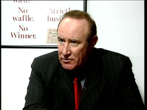 stockvideo's en b-roll-footage met andrew neil interviewed sot still many unanswered questions about the extent of his share dealing - andrew neil