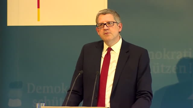 Andrew Parker Head of MI5 accusing Russia of 'criminal thuggery' at a press conference in Berlin Germany