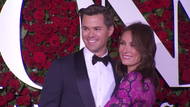 andrew rannells and laura benanti at 2016 tony awards red carpet at the beacon theatre on june 12 2016 in new york city - laura benanti stock videos and b-roll footage