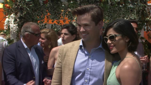 Andrew Rannells Freida Pinto at Veuve Clicquot Polo Classic 2015 at Liberty State Park on May 30 2015 in Jersey City New Jersey
