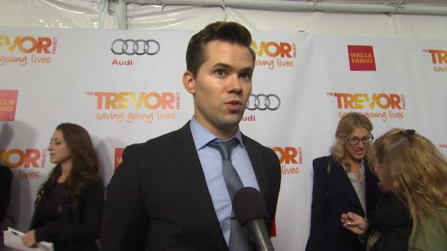 andrew rannells on why he supports the trevor project what he will be performing what he is most looking forward to and why katy perry is deserving... - the trevor project stock videos and b-roll footage
