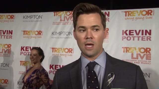 interview andrew rannells talks about discovering trevorlive in la and how everyone's experience differs at the trevor project's trevorlive new york... - marriott marquis new york stock videos & royalty-free footage