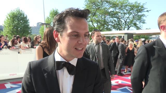 andrew scott on sherlock and his nomination at arqiva british academy television awards at the national theatre on may 27, 2012 in london, england - 英国アカデミー賞テレビ部門点の映像素材/bロール