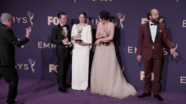 andrew scott phoebe wallerbridge sian clifford and brett gelman at the 71st emmy awards press room at microsoft theater on september 22 2019 in los... - emmy awards stock videos & royalty-free footage