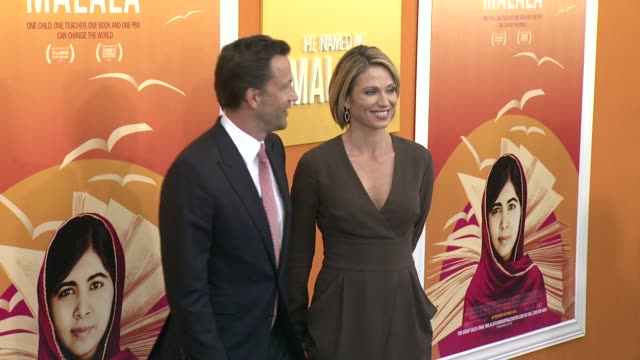 """andrew shue and amy robach at """"he named me malala"""" new york premiere at ziegfeld theatre on september 24, 2015 in new york city. - andrew shue stock videos & royalty-free footage"""
