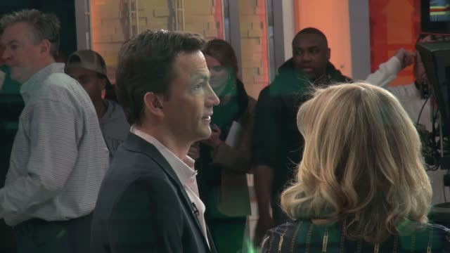 andrew shue on the set of the good morning america show - celebrity sightings in new york on february 19, 2014 in new york city. - andrew shue stock videos & royalty-free footage