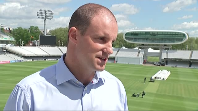 Andrew Strauss and Tom Harrison gvs and interviews Andrew Strauss interview SOT Strauss talking to journalist