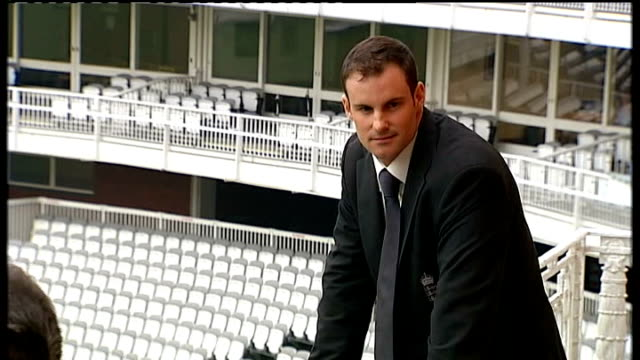 Andrew Strauss press conference EXT Strauss on balcony being photographed