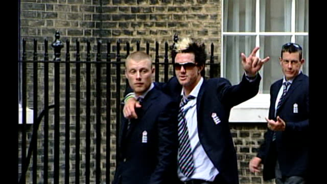 Andrew Strauss takes over as England cricket captain R13090517 Kevin Pietersen and Andrew Flintoff arriving at Number 10 following Ashes victory...