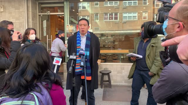 NY: Andrew Yang Meets With Movie Theater Workers As They Reopen In New York City
