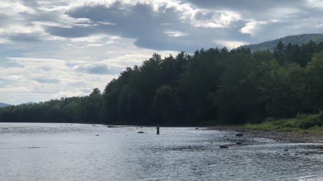 vidéos et rushes de androscoggin river in hanover, maine usa with fly fisherman fishing for trout - lancer la ligne de canne à pêche