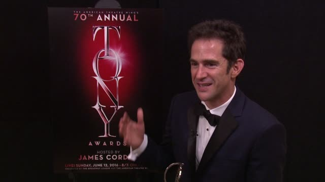 interview andy blankenbuehler talks about winning best choreography at 2016 tony awards winner's circle at the beacon theatre on june 12 2016 in new... - 70th annual tony awards stock videos and b-roll footage