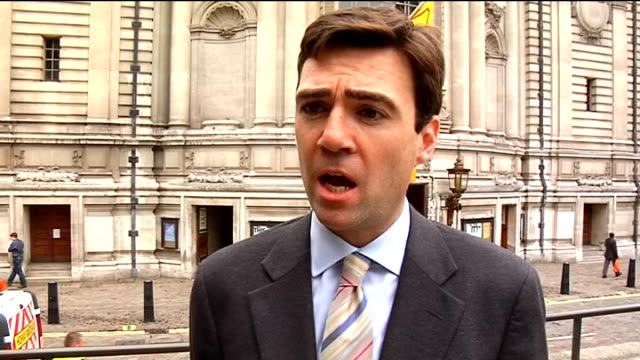 london westminster ext andy burnham mp interview sot burnham introduces himself / been involved in football many years and has given much thought to... - touch football video stock e b–roll