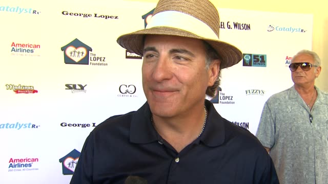 Andy Garcia on today's event on if he's been practicing for today's round and on what he'll bring to his team at the 4th Annual George Lopez...