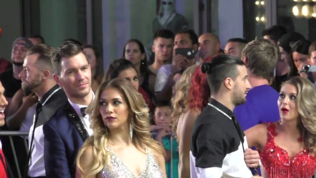 Andy Grammer Allison Holker filming Dancing With The Starsflash mobon Hollywood Blvd in Hollywood on September 10 2015 in Los Angeles California